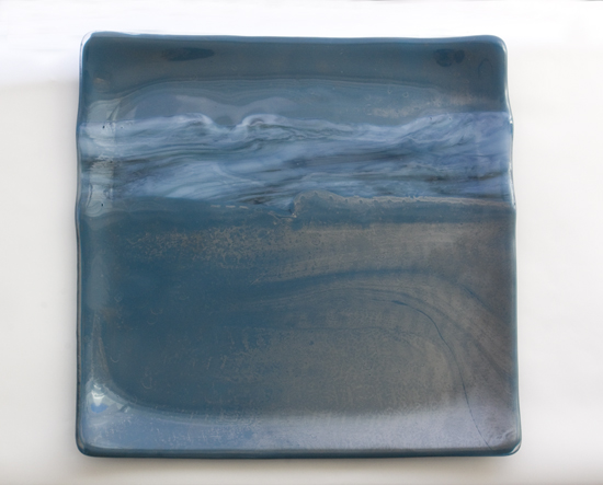 Silver with blue waves square plate